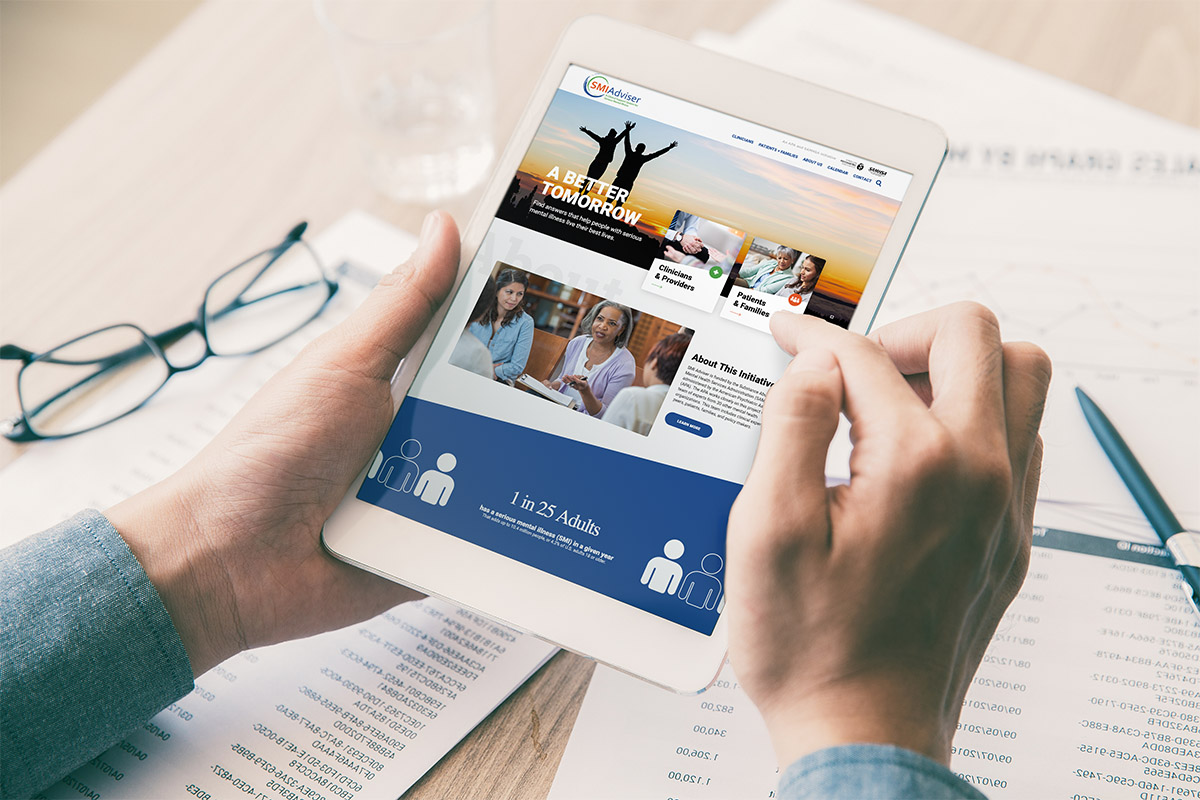 SMI Adviser website open on a tablet